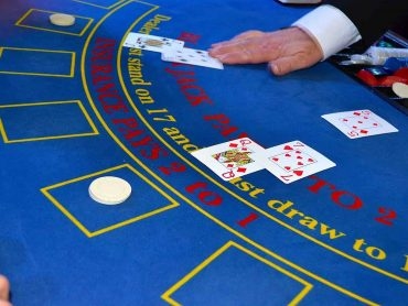 Blue poker table
